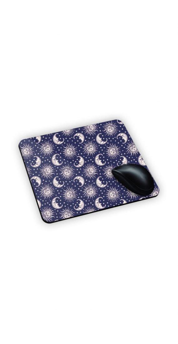 Tappetino x mouse con sfondo lune e su sfondo blu