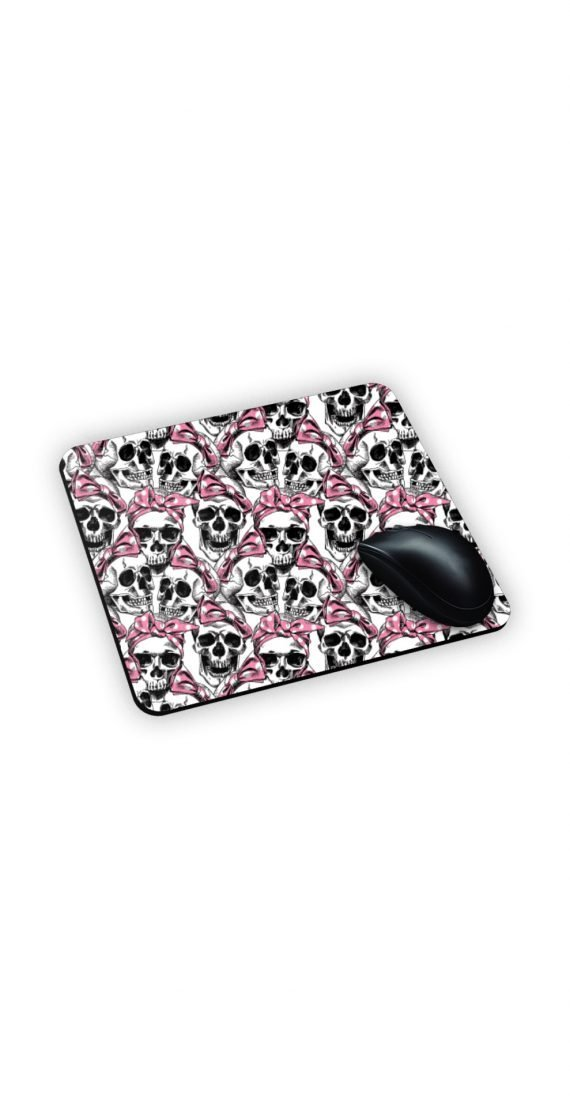 mouse pad con teschi e fiocchi rosa