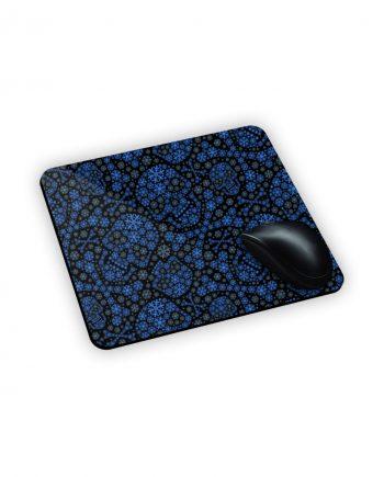 tappeto da scrivania nero e blu con teschi e fiocchi stampati