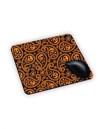 Mouse Pad Tappetino con teschi e gocce bianche arancioni