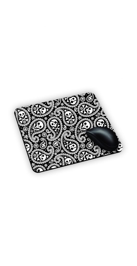 Mouse Pad Tappetino con teschi e gocce bianche