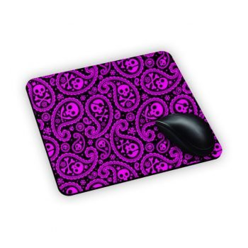 Mouse Pad Tappetino con teschi fluo pink e gocce