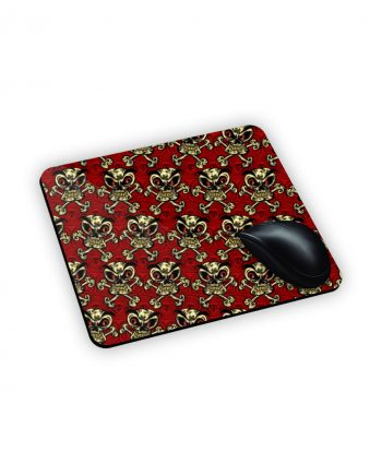 Tappetini da mouse rosso con teschi beige stile pirata
