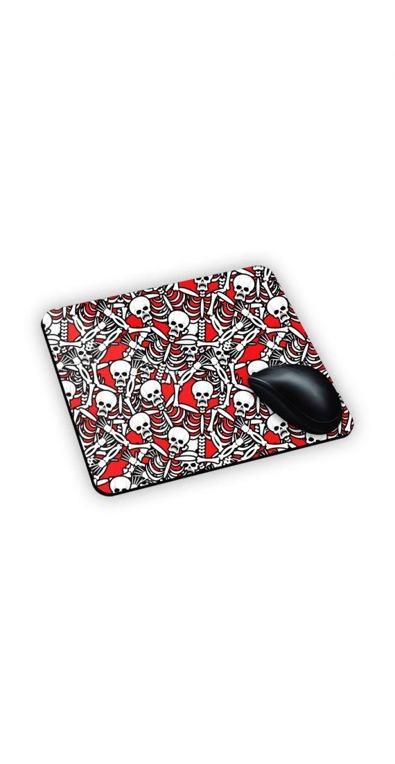 Tappeto mouse pad con sfondo rosso e scheletri