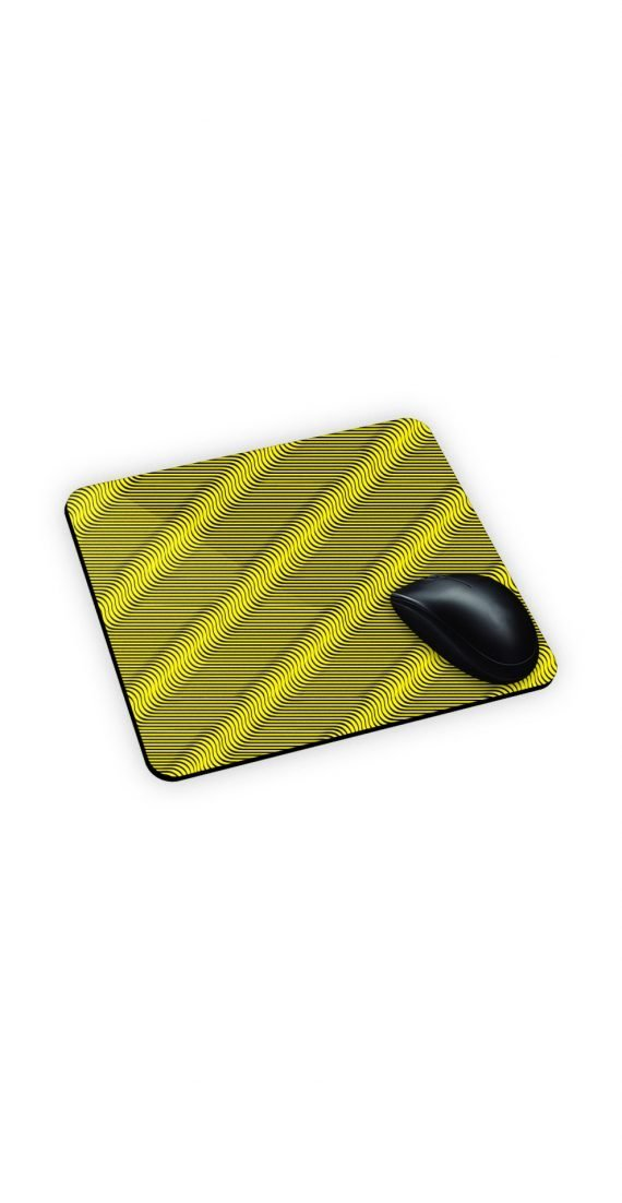 mouse pad giallo con stampa optical