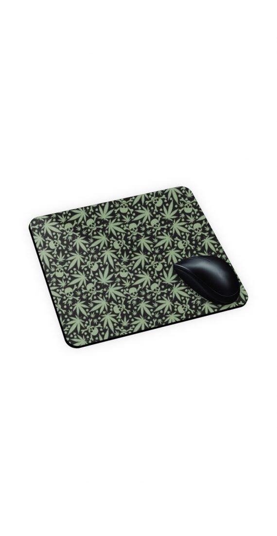 mouse pad con teschi e foglie weed